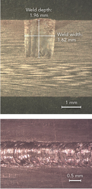 FIGURE 5. An example of oscillation welding of copper bus bar material with a 2 kW single-mode fiber laser is shown.